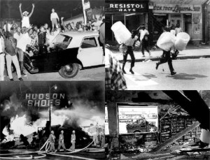 A montage of pictures of the Watts riots in Los Angeles, August 11 15, 1965
