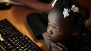 Black Girl on computer
